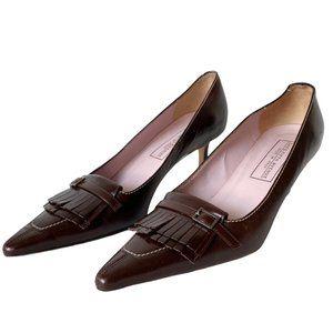Saks Fifth Ave Italian Leather Kitten Heel Shoes